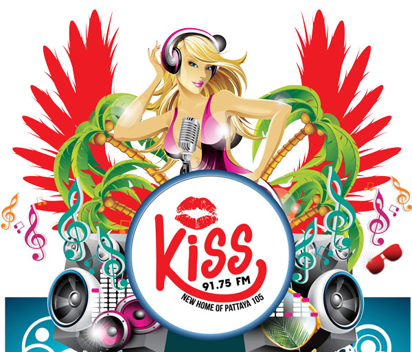 logo for kiss fm pattaya app by voova digital